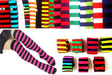 Ladies Stripe Stripy Striped Over The Knee Thigh High Long Socks all Colours 4-6