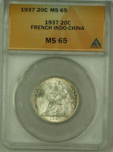 1937 French Indo-China 20 Cent Coin ANACS MS-65
