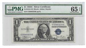 1935C $1 SILVER CERTIFICATE, PMG GEM UNCIRCULATED 65 EPQ BANKNOTE, C/E BLOCK