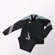 adidas Football Youth Soccer Sereno 14 Polyester Suit Tracksuit Boys Black Grey 128
