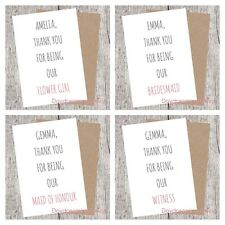 Thank You for Being Our Bridesmaid/Flower Girl/Maid of Honour Card. Personalised