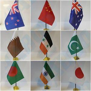 ASIAN & AUSTRALIA Table Desk Top Flag -THAILAND NEW ZEALAND PAKISTAN INDIA.. .