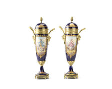 19th century Sevres -Beautiful cobalt Blue lidded Urns -Pair