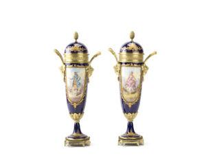19th century Sevres -Beautiful cobalt Blue lidded Urns -Pair