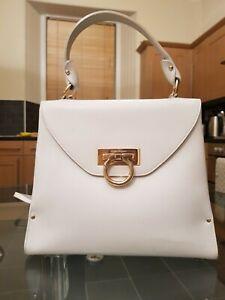 Iconic Ferragamo Gancini White Leather Kelly Bag Net a Porter
