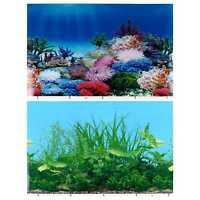 2Pcs Fish Tank Decals Aquarium Background Poster Backdrop Stickers Paper Cling