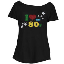 Loose Fit I Love The 80s GLITTER Ladies T-Shirt - Retro Fancy Dress Party Top