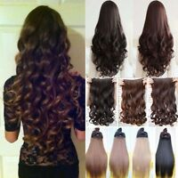 Real feel clip in half full head hair extension curly straight wavy Brown blonde