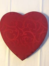 "10"" RED HEART ROMANTIC EASTER CANDY CHOCOLATE FABRIC COVERED BOX EXCELLENT EMPTY"