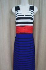 Nine West Dress Sz 4 Summer Flame Red Multi Stripe Print Career Cocktail Dress
