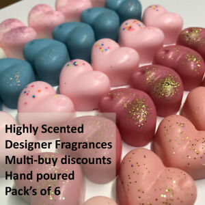 Wax Melts - 6 LARGE HEARTS ❤️ Strongly scented, 100% Soy Wax Inspired Fragrances