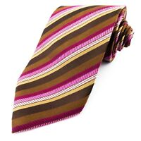 TED BAKER Endurance 100% Pure Silk Pink Brown Striped Mens Tie