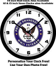 PROUD GRANDSON OF A WORLD WAR II VETERAN 10 INCH WALL CLOCK