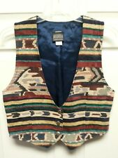 ROUGHRIDER Women Vest Size L By Circle T Indian Print Lined 3 Button Blue Wine