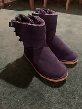 UGG Women's Navy Blue Bow Knot Back Boots Shoes Size 8