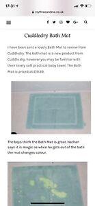 Children's Cuddledry Magic Bath Mat Green 100% Cotton