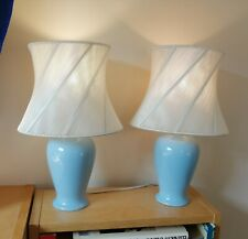 2 Matching Blue Ceramic Table Lamps. B&Q. White String Wound Shades