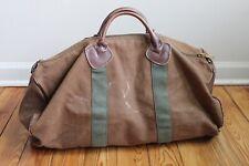 "Vtg LL Bean Brown Green Leather Handle Large Duffle Bag 20"" Talon"