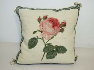 VINTAGE NEEDLEPOINT ROSE FLOWER PILLOW  14 INCHES SQUARE