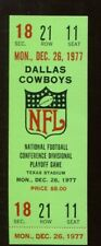 1977 Bears v Cowboys NFC Divisional Playoff Game Full Ticket 12/26 NMT 48552