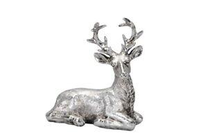 Hirsch Skulptur liegend antik silber Landhaus Weihnachten Winter Brocante