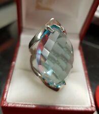 Bague femme argent massif 925 plateau imposante pierre bleu T53 RV700