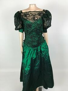 Vintage 80's Dance Allure Taffeta Women's Dress Prom Bridesmaid Green Lace Bow