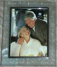 Russ 25th Anniversary silver & frosted Glass 5x7 Photo Frame. etched flowers