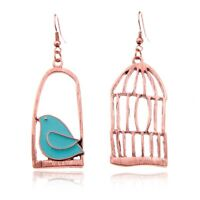 Vintage Fashion Design Bird-Cage Lovely Drop Earrings For Women Peace Dove V6M3