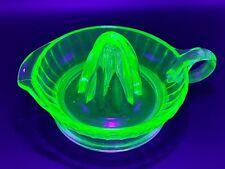 Vintage Depression Glass Green Vaseline Uranium Large Juicer (Glows Bright)