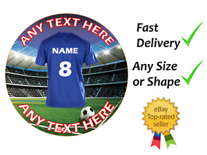 Chelsea style football cake topper circle square wafer or icing sheets edible