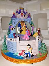 Disney Dancing Multi Princess Castle Snowglobe Mermaid White Beauty Cinderella