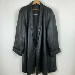 "Vintage 80s Tibor 3X 4X Plus 68"" Bust Black Leather Jacket Coat Shoulder Pads"