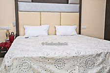 Mirror Work Bed Cover Antique Indian Hand Embroidered Quilt Large Blanket White