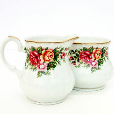 VINTAGE GIARDINO INGLESE PORCELLANA CINA BRICCO LATTE Country Roses Sugar Bowl Set