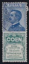 Regno 1924 Pubblicitario Coen P5 25 c. azzurro e verde usato US ott. centratura