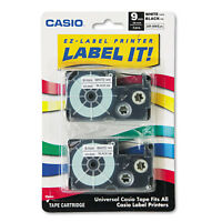 Casio Tape Cassettes for KL Label Makers 9mm x 26ft Black on White 2/Pack
