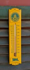 Vintage B&O RAILROAD MERIT TRAIN Metal Wall Thermometer Yellow Advertising Sign