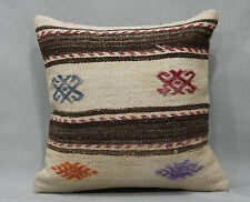 16'' x 16'' Decorative Throw Pillows, Vintage Natural Wool Kilim Pillow Cover
