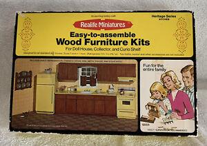 Vintage Doll House Heritage Series Real Life Miniature Kitchen Wood Furniture