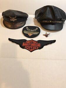 2 Vintage HARLEY-DAVIDSON Leather Motorcycle Biker Cap / hat Detachable Logo.
