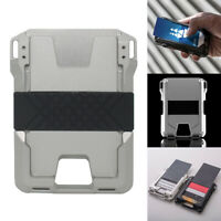 Minimalist RFID metal wallet with cash strap Aluminum Men front pocket wallet