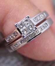 NEW 14K WHITE GOLD .75ct PRINCESS DIAMOND WEDDING SET