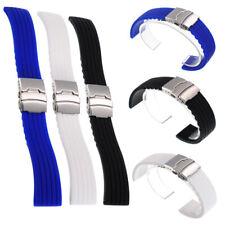 Bracelet de Montre Bande Silicone Étanche Boucle en Acier Inoxydable Déployante