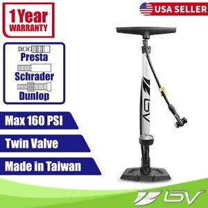 BV Bike Pump Floor w Gauge Bicycle Tire Ball Air Inflator Presta Schrader 160PSI