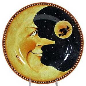 """Sakura PUMPKIN HOLLOW - MOON 8.25"""" Dessert Plate David Carter Brown Halloween"""
