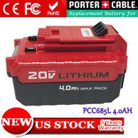 Replace For PORTER CABLE 20V 4.0Ah MAX Lithium Battery PCC685L PCC680L PCC682L