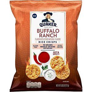 Quaker Rice Crisps, Buffalo Ranch Hot Spicy 3.03oz Bag (6 Pack)