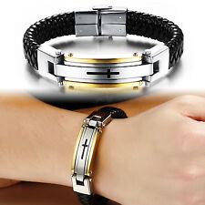 Black  Genuine Leather Stainless Steel Wristband Cross Bracelet Gold bangle8.66'