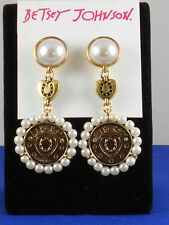 Betsey Johnson Goldtone LUCKY CHARMS Faux Pearl Horseshoe Disc Drop Earrings $35